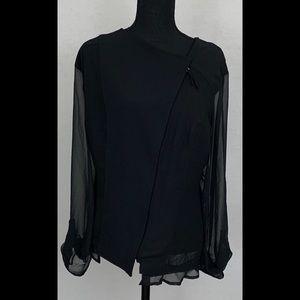 Lane Bryant Zip Jacket Sheer Chiffon Sleeves 24W